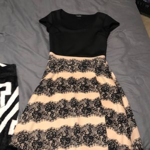 Black and pale colored dress